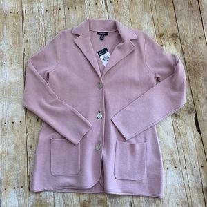 NWT Chaps pink cotton blend sweater blazer  M